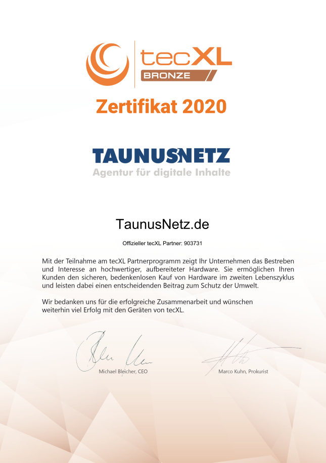 TaunusNetz ist tecXL Bronze Partner